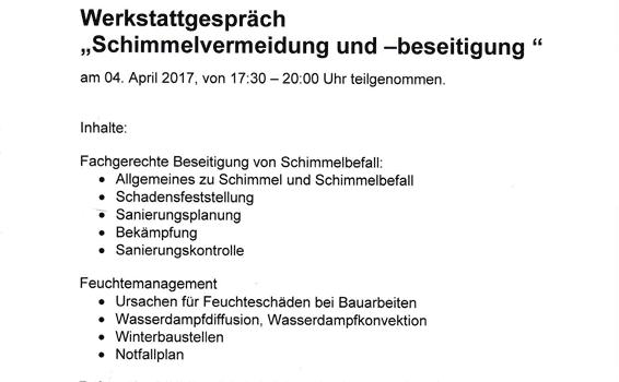 """Werkstattgespräch """"Schimmelvermeidung und -beseitigung"""""""