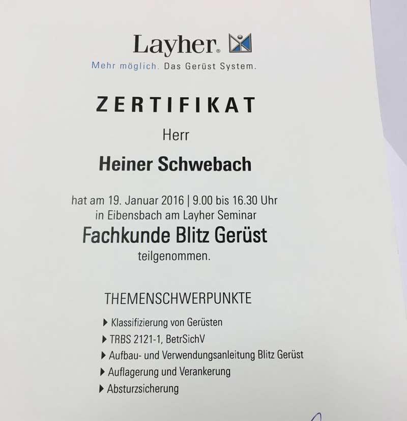 Layher-Zertifikat